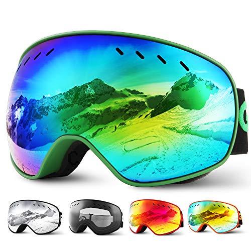 Glymnis Maschera da Sci Occhiali da Sci OTG Super-grandangolo Occhiali da Snowboard e Staccabile Lenti Antiappannamento Antivento di Protezione UV400 per Uomo e Donna (Verde-Lente Revo)