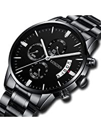 Mens Luxury Watches Stainless Steel Black Watch Men Chronograph Sport Waterproof Luminous Date Calendar Wristwatch Casual Business Dress Analogue Quartz Watches