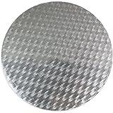 Pme redonda para tarta tarjeta aasd, cartón, Plateado, 6-inch