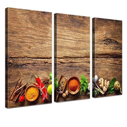 LANA KK Leinwandbild'Pikant' Küche und Kochen auf Echtholz, dreiteilig, Bunt, 120 x 80 cm