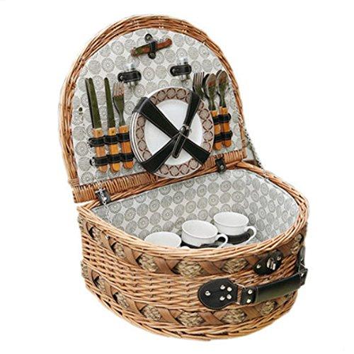 SHOUNALAIN Klassische Handgefertigte Große Rattan Picknickkorb für Familie Vintage Picknickkörbe mit Deckel für 4 Personen mit Geschirr Cesta Picknick mit Picknick Mat