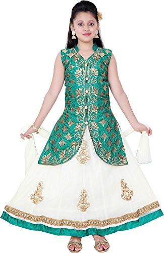 Saarah Girls Ethnic Wear Green Color Embroidered Lehenga, Choli and Dupatta Set