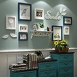 Rahmen Wand, Vogel Wandaufkleber Rahmen Kombination, kleine Wand Massivholz Fotowand, Wohnzimmer Wandrahmen - 8 Stück ( Farbe : A )