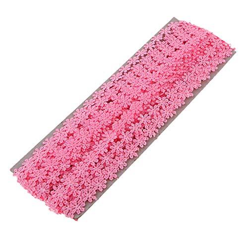Fenteer 15 Yard 12mm Daisy Blume Band Ribbon Trim Lace Ribbon Spitzenborte Gehäkelt Lace Trim Nähen Dekoration Für Weihnachtskarten, Kleidung Dekor - Rose Rot, 15 Yard