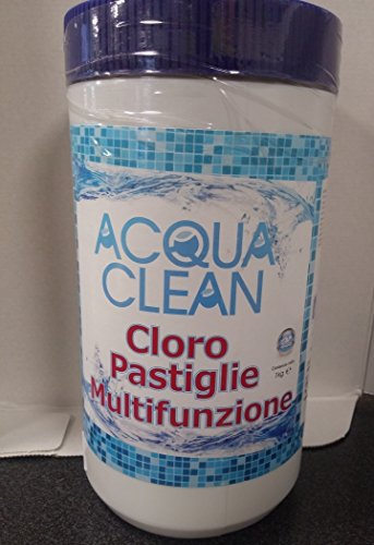 Cloro in pastiglie per piscine fuori terra 1 kg Acqua Clean Multifunzione Tripla Azione