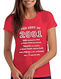 "Girls ""The Best of 2001"" 17th Birthday T Shirt Gift, 100% Soft Cotton"