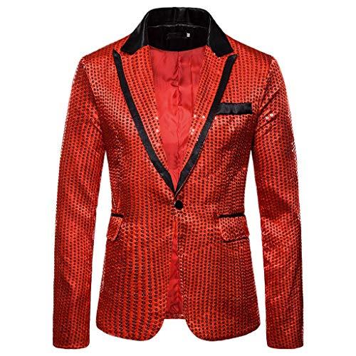 OPALLEY Herren Shiny Pailletten Anzug Multi Farbe und Größe der Männer Hübsche Jacken-Blazer für Nachtklub, Hochzeit, Partei