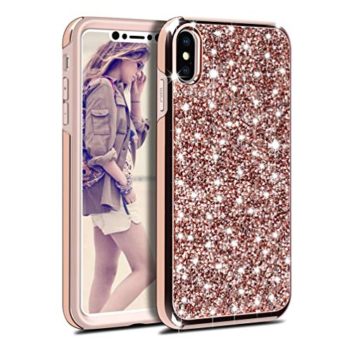 Coque iPhone Xr Paillette, Coollee Housse Etui Anti-Choc Glitter Strass Brillante Bling Luxe Femme 360 Protection Housse Dur INTEGRAL Ultra Mince Case pour Apple iPhone Xr 2018 6.5\
