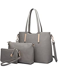 Miss Lulu Women Fashion Handbag Shoulder Bag Purse Faux Leather Tote 3 Pieces
