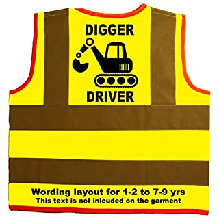Digger Driver Baby/Children/Kids Hi Vis Safety Jacket/Vest Size 4-6 Years Yellow Optional Personalised On Front