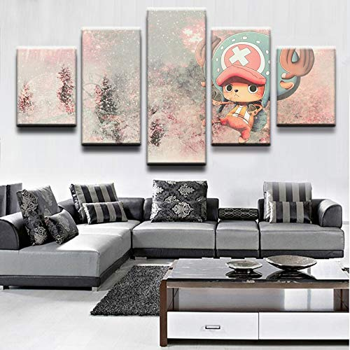 Ai Ya-hua Home Decor Leinwand Wand Kunst Bilder 5 Stück Animation Zeichen Cute Tony Chopper Wohnzimmer Oder Schlafzimmer, Moderne Malerei Frame