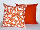 "2 x 17"" Filled Scatter Cushions - Reversible Orange Tulip - Waterproof Fabric - For Home & Garden Furniture"