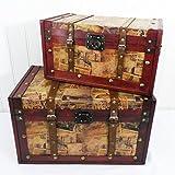 Set de 2de madera baúl de almacenamiento Set–Ideas de regalo para Navidad, cumpleaños, caja de juguetes, caja de manta