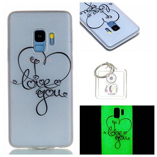 Preisvergleich Produktbild Hülle Leuchtende Galaxy S9 Plus6,2 ZollSilikon Etui Handy Hülle Weiche Transparente Luminous TPU Back Case Tasche Schale Leuchten In Der Nacht Für Samsung Galaxy S9 Plus6,2 Zoll+ Schlüsselanhänger (P) (7)