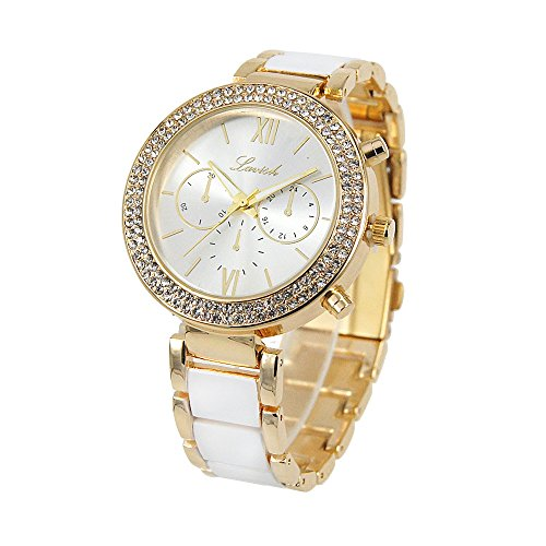 Elegante Armbanduhr für Damen in Weiß Gold mit Metallarmband, Römische Ziffern, Analog, Quarz, Damenuhr mit Tasche