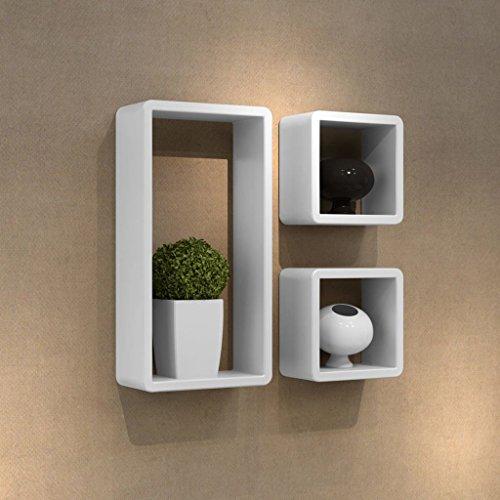 Mensole Da Muro Design.Senluowx Set Design Parete 3 Cubi Mensole Bianco Con Rifiniture In Vernice Lucida Mensole Da Muro Design