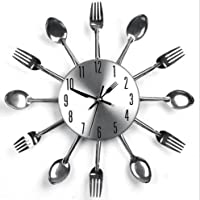 Lidiwee Sliver Home Decoration Cutlery Kitchen Utensil Spoon Fork Clock Wall Clock
