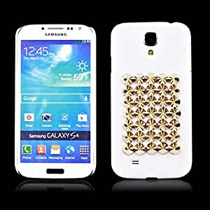 White Luxury Pyramid Studs Hard Cover Case Shell for Samsung Galaxy S4 SIV i9500 i9505