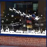 GOUZI Kreative Weihnachten Dekoration Shop Unternehmen Fenster Glas selbstklebende Stil Tür Aufkleber Fenster Gitter, 60 * 90 cm. Wall Sticker abnehmbare Wall Sticker für Schlafzimmer Wohnzimmer Hintergrund Wand Bad Studie Friseur