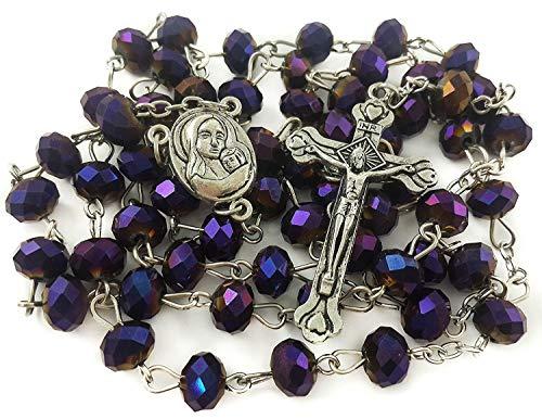 Nazareth Store Unique Deep Violett Perlen Rosenkranz katholischen Halskette Heiligen Boden & Kruzifix Jerusalem