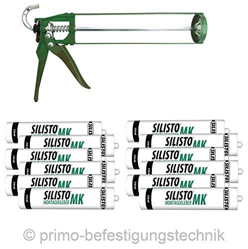 SILISTO Montagekleber Baukleber Sockelleistenkleber 12 x 310ml + GRATIS PISTOLE 890P710012