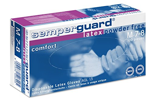 Semperguard 813777937 / 3000001283 Latex Comfort, Einmalschutz und Untersuchungshandschuh aus Naturlatex, puderfrei, Größe L, 8-9, Naturweiß (100-er Pack)