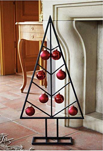 AmaCasa Metall Weihnachtsbaum Tannenbaum in Schwarz - 80cm - Stylischer Design Deko Baum für Innen und Außen mit Haken zur Befestigung von Dekorationsobjekten