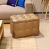 XRXY Kreativer farbiger Schemel / Hall, der seine Schuhe ändert Hocker / Schuhgeschäft-Aufbewahrungsbehälter / rechteckiger fester hölzerner Sofa-Schemel ( Farbe : Gold , größe : 50*30*32cm )