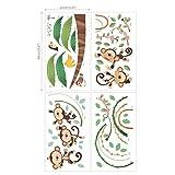 Decowall DA-1507 Affen Weinrebe Tiere Wandtattoo Wandsticker Wandaufkleber Wanddeko für Wohnzimmer Schlafzimmer Kinderzimmer Test