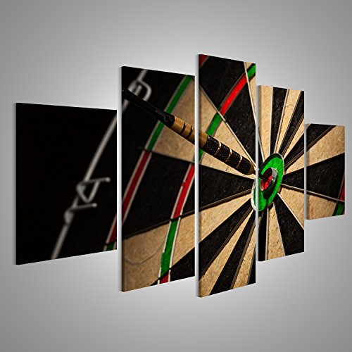 islandburner Bild Bilder auf Leinwand Dart Pfeile in Bulls Eye close up Wandbild Leinwandbild Poster XXL Format (Up Close Leinwand)