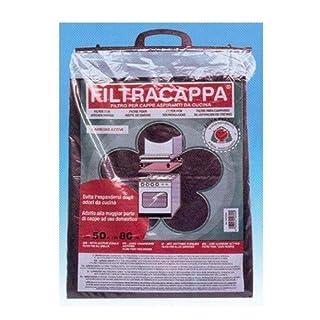 Filter für Dunstabzugshauben mit Aktivkohle, Polyesterfasern und Staub von Kohle.