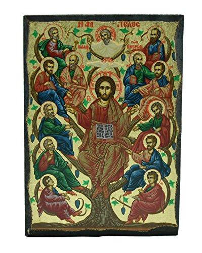 Icona del Consiglio del 12 Apostoli dipinta su legno 12,5x9cm Икона Собор 12 апостолов написанная на дереве