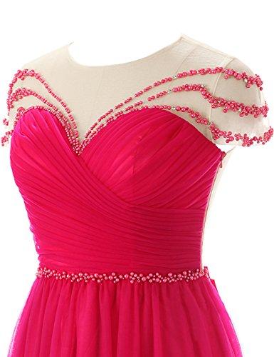 Dresstells, Robe de soirée Robe de cérémonie Robe de gala mousseline tulle traîne moyenne col rond emperlée avec nœud à boucles Rouge