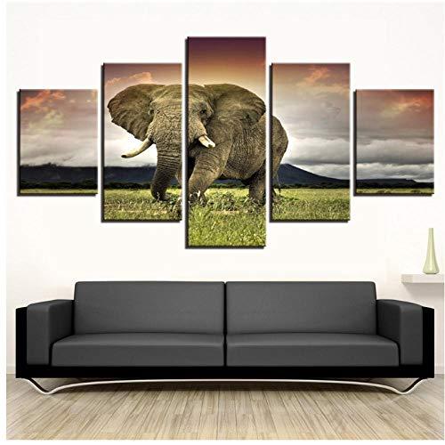 xwwnzdq 5 Paneles de Lienzo de Pintura Elefantes en el Césped Cartel...
