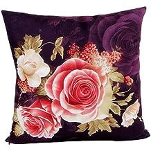 FEITONG Impresión teñido Peony Sofá Inicio Funda de almohada cama cubierta decoración Cojín (púrpura)