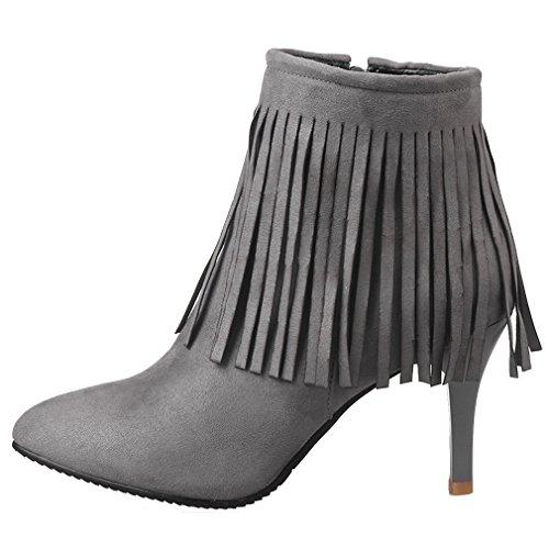 ENMAYER Femmes Chelsea Nubuck Nouveau Pointed Toe High Heel Zip Tassel Bottines Gris