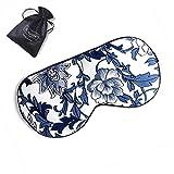 ZIMASILK 100% Seide Schlafbrille leicht - verstellbare Augenbinde für Reise und Zuhause Schlafen - Augenmaske mit Samtbeutel (Blaue Blume)