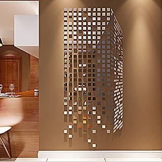 Alicemall Wohnzimmer TV Wandaufkleber Wand Dekorative Mosaik Acryl 3D Spiegel Effekt Wandaufkleber (Silber Spiegel)