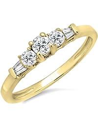 0,45 Carat (quilate) 14 K oro redondo y Baguette corte diamante señoras