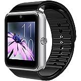 PELTEC@ Bluetooth Smart Watch Uhr Sport Armbanduhr Smartwatch für Iphone iOS + Android mit Kamera, SIM silberfarben