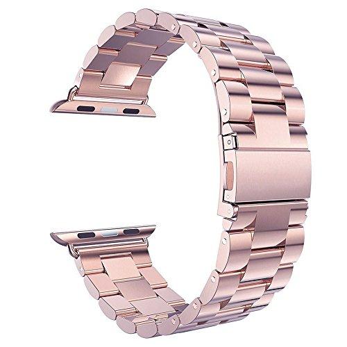Cinturino Apple Watch, Pugo TOP Cinturino In Acciaio Wrist Band per Apple Watch -oro rosa 42mm