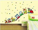 ufengke® Cartoon-Tier-Zug Wandsticker,Kinderzimmer Babyzimmer Entfernbare Wandtattoos Wandbilder