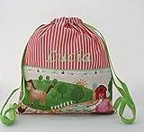 Bolsa mochila granja, en tela vichy rayas rojas, personalizada con nombre. /30x35 cm./