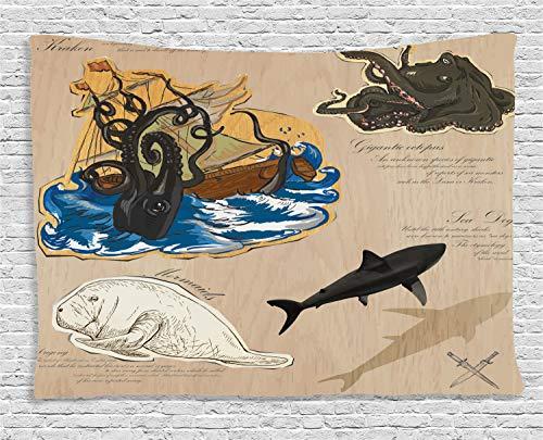 (ABAKUHAUS Nautisch Wandteppich, Seemonster Pirat, Wohnzimmer Schlafzimmer Heim Seidiges Satin Wandteppich, 200 x 150 cm, Mehrfarbig)