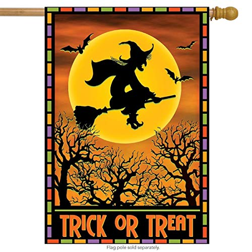 ASKYE Full Moon Witch Halloween House Flag Spooky Bats Broom for Party Outdoor Home Decor(Size: 28inch W X 40inch H) (House Bat Kit)
