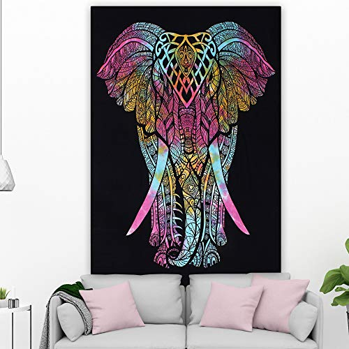 OMG-Deal OMG-BS-002 - Manta de Playa Hecha a Mano, diseño de Elefante Bohemio Hippie, para Colgar en la Pared