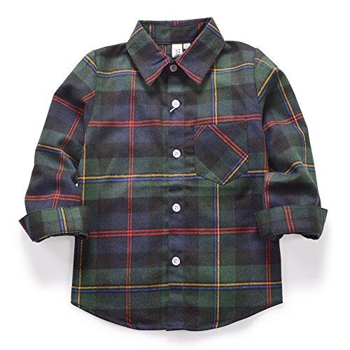 Ochenta camicia casual - maniche lunghe - a quadri flanella - ragazzo e120 green tag 150cm - 11-12 anni