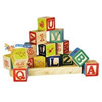 MTS Wooden Alphabet Letters Numbers Building Blocks Cubes Bricks Traditional Toy