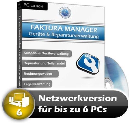 Faktura Manager Geräte- & Reparaturverwaltung Rechnungsprogramm Netzwerk Software 6 PC
