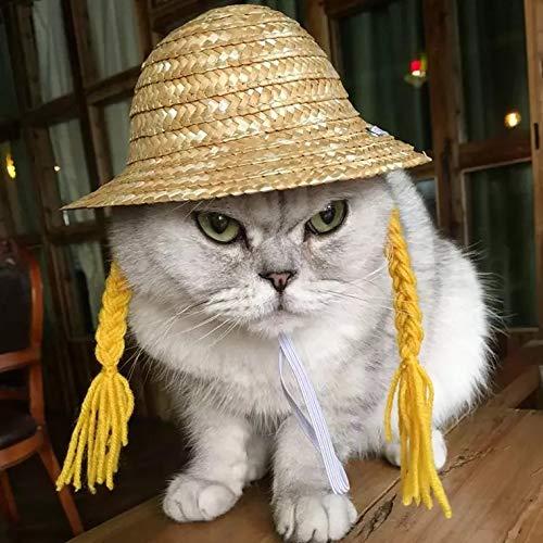 ChicPet Kleine witzige Handarbeit gewebte Strohhut mit blonden Zöpfen für Katzen, Hunde, Welpen, verstellbare elastische Kordel